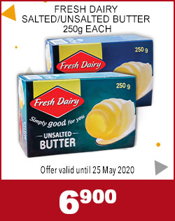FRESH DAIRY SALTED/UNSALTED BUTTER 259g EACH, 6,900