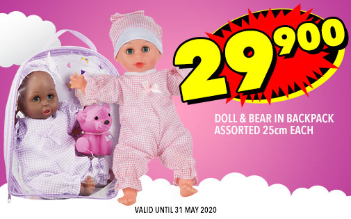 DOLL & BEAR IN BACKPACK ASSORTED 25cm EACH, 29,900