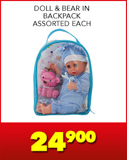 DOLL & BEAR IN BACKPACK ASSORTED EACH, 24,900