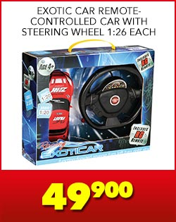 EXOTIC CAR REMOTE-CONTROLLED CAR WITH STEERING WHEEL 1:26 EACH, 49,900